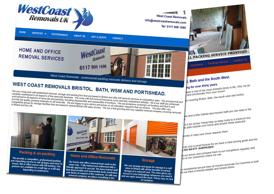 web design examples for removal company website